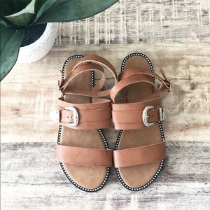 Tan Strappy Sandals with Silver Buckle